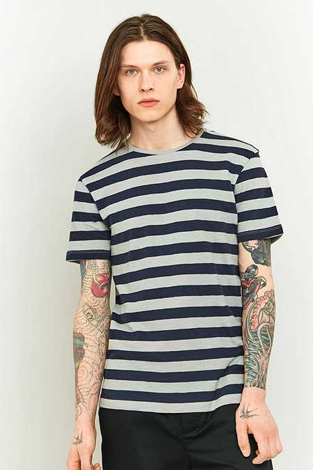 Selected Homme Silver Stripe O-Neck T-shirt
