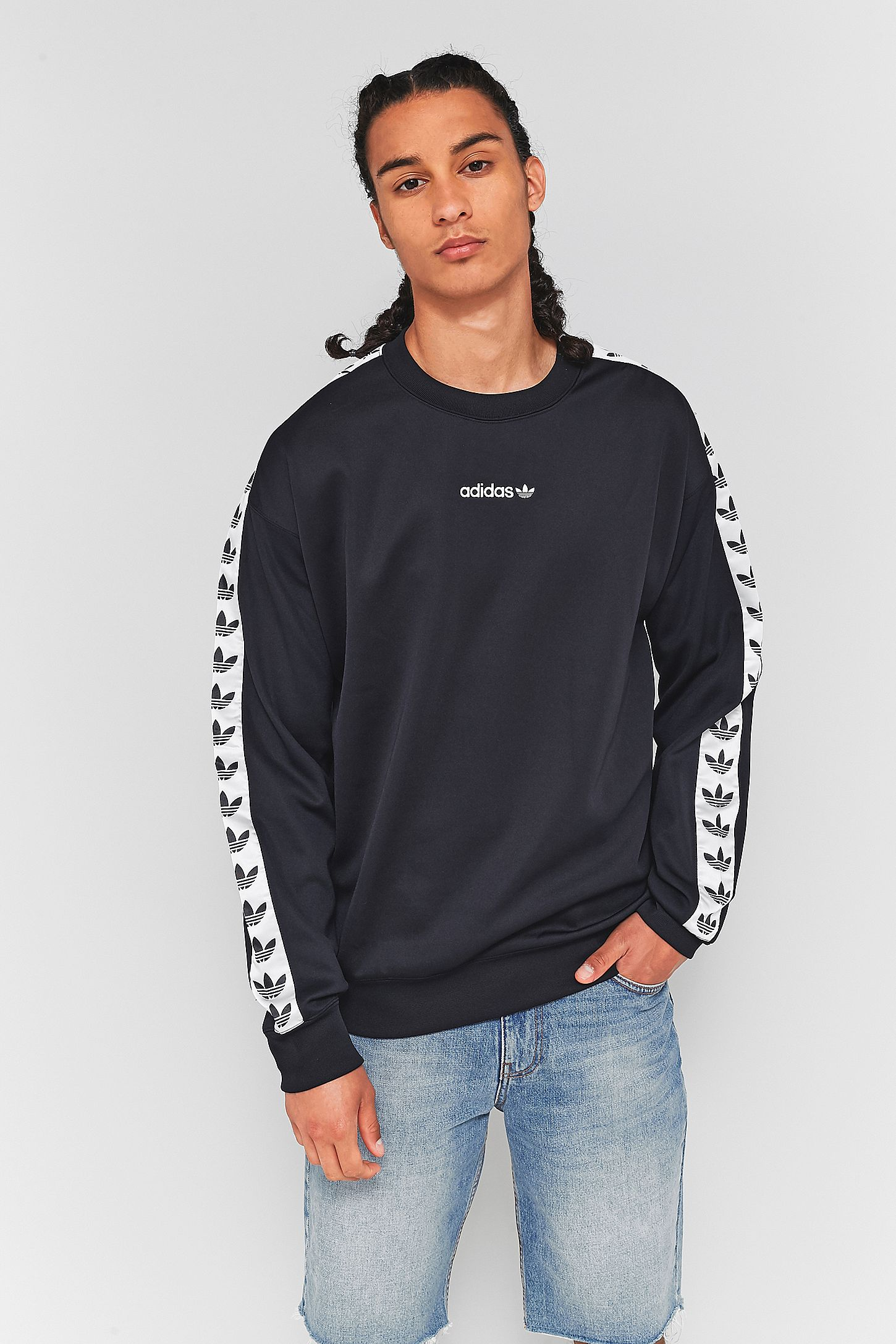 adidas TNT Black and White Taped Crewneck Sweatshirt  70d42fde44