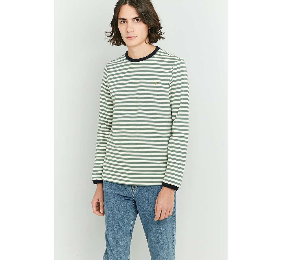 Slide View: 1: Farah Ally Palm Striped Long Sleeve T-shirt