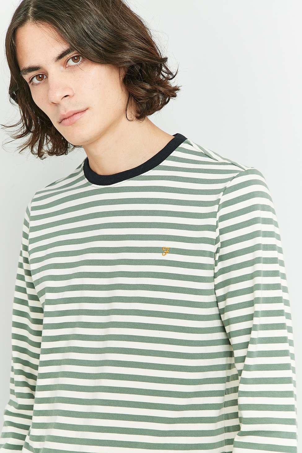 Farah Ally Palm Striped Long Sleeve T-shirt | Urban Outfitters