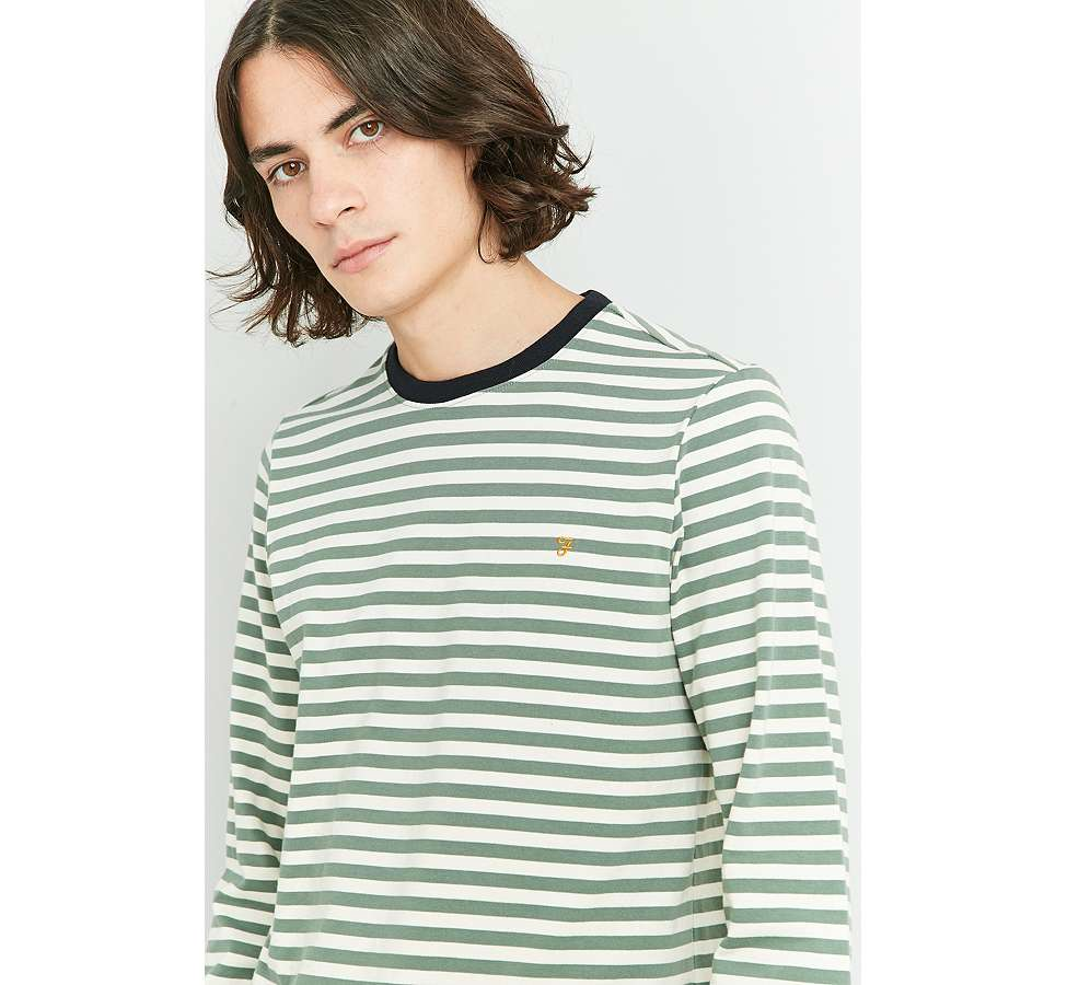 Slide View: 2: Farah Ally Palm Striped Long Sleeve T-shirt