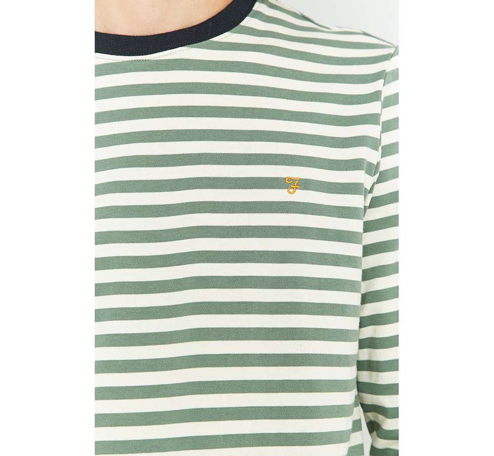 Slide View: 3: Farah Ally Palm Striped Long Sleeve T-shirt