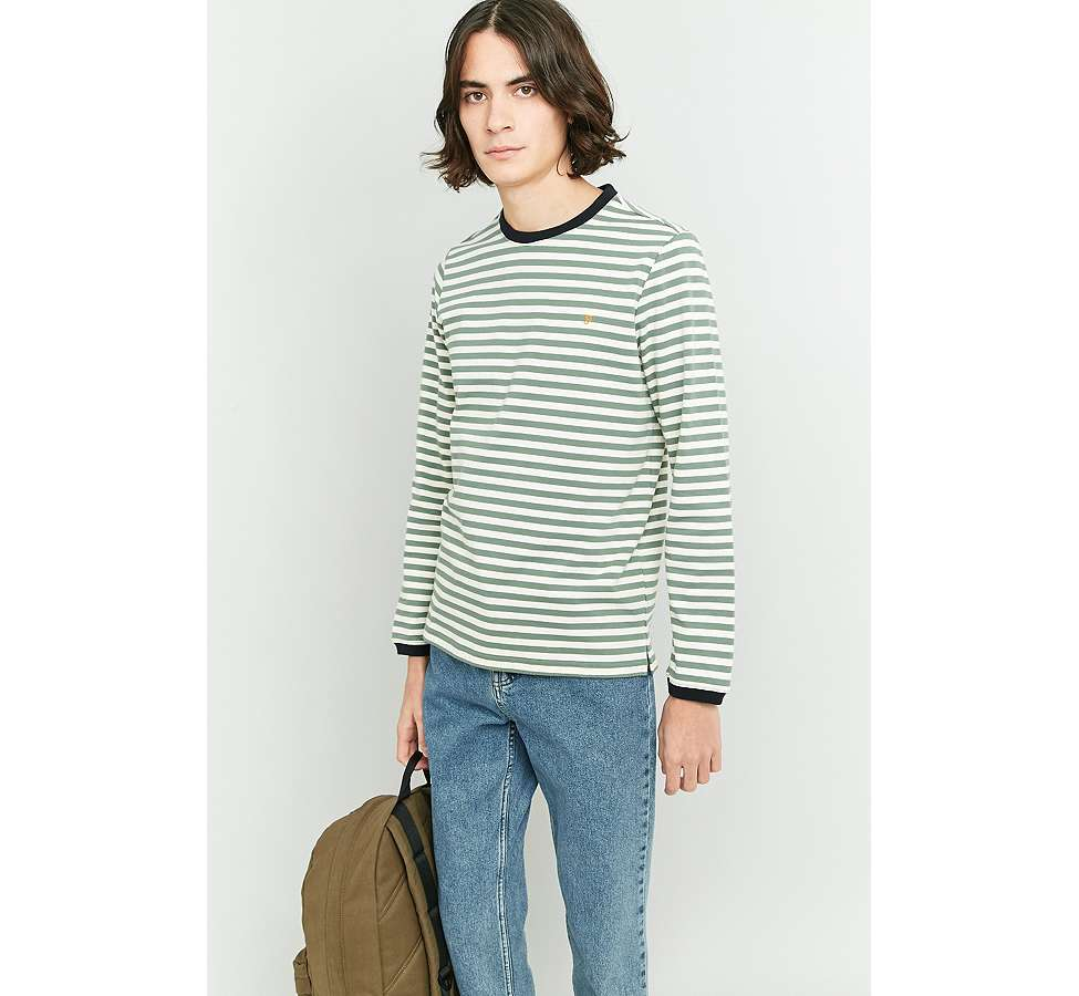 Slide View: 6: Farah Ally Palm Striped Long Sleeve T-shirt
