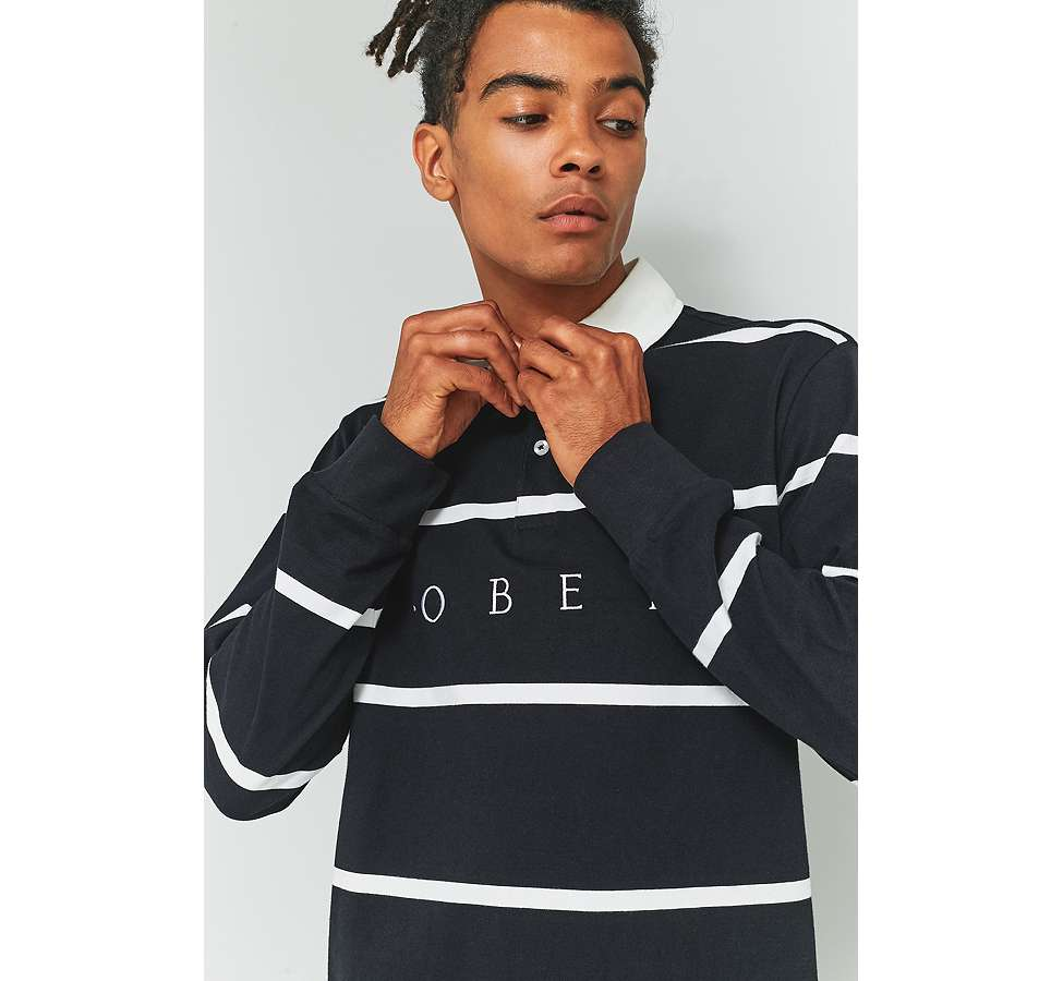 "Slide View: 5: OBEY – Langärmliges Poloshirt ""Bridgewater"" in Schwarz"