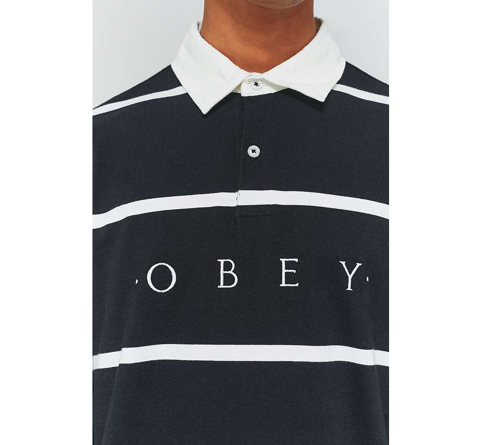 "Slide View: 6: OBEY – Langärmliges Poloshirt ""Bridgewater"" in Schwarz"