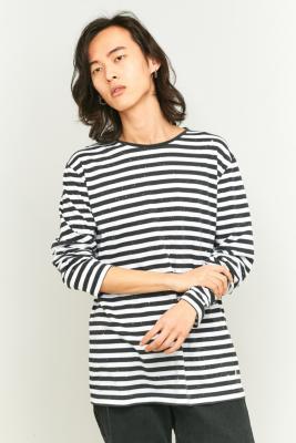 Cheap Monday Gazer Bleached Black and White Striped T-shirt, WHITE