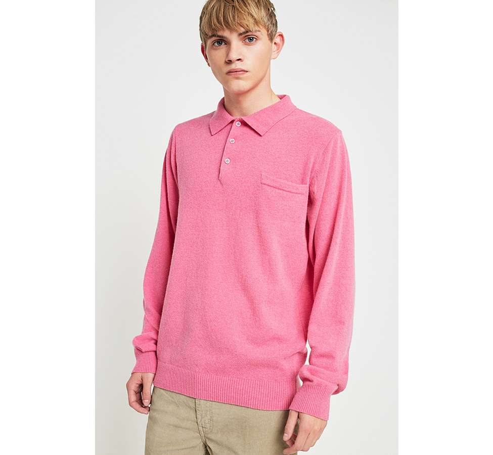 Slide View: 1: Soulland Pink Long-Sleeve Knitted Polo Shirt