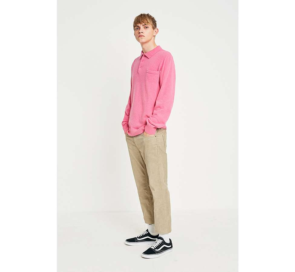 Slide View: 2: Soulland Pink Long-Sleeve Knitted Polo Shirt