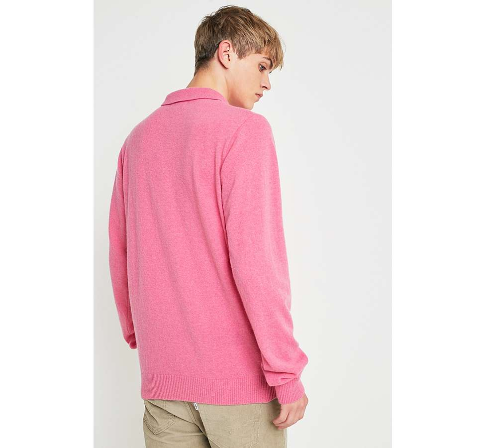 Slide View: 4: Soulland Pink Long-Sleeve Knitted Polo Shirt