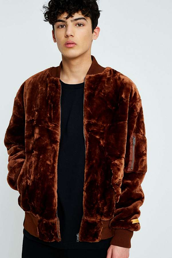 The New County Brown Faux Fur Bomber Jacket | Urban Outfitters