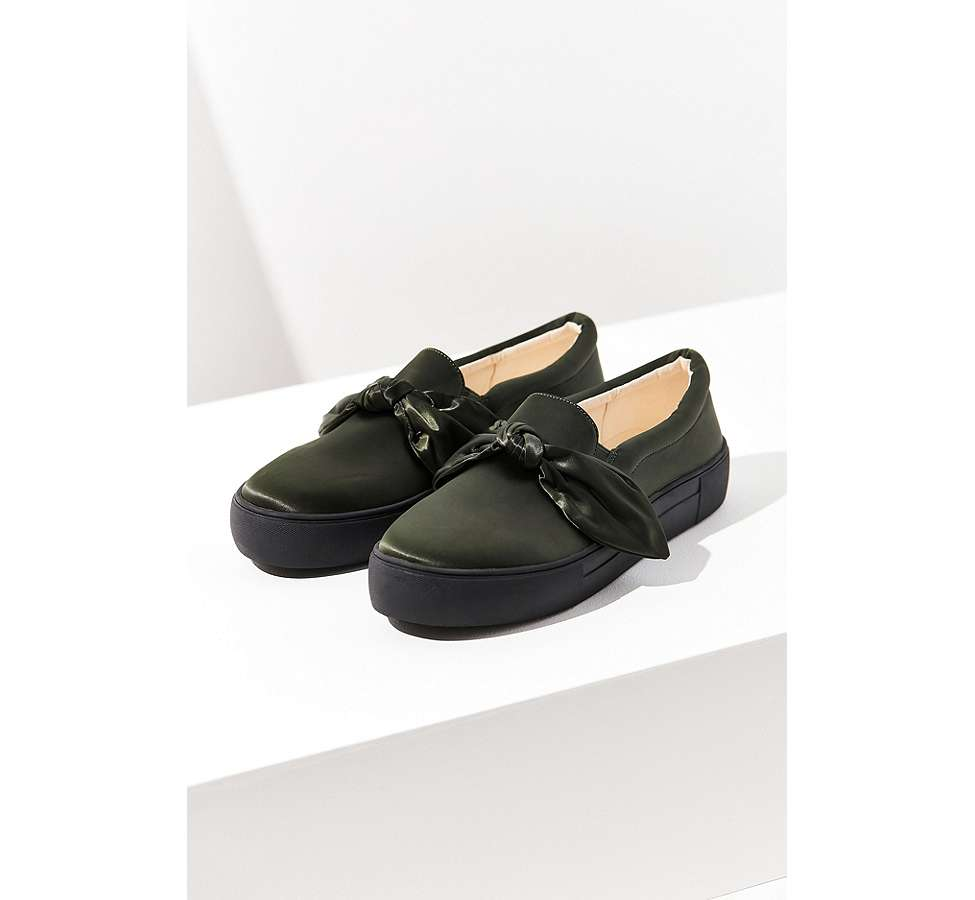 Slide View: 1: Beau Satin Slip-On Trainers