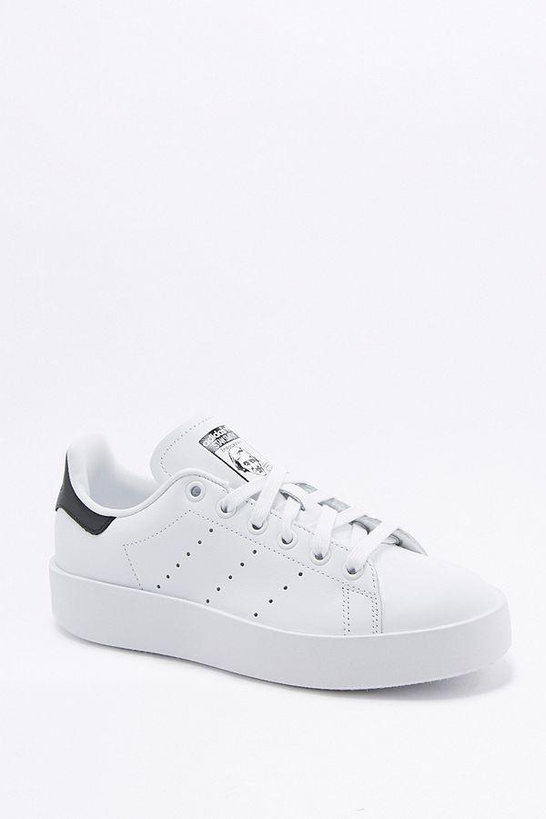 adidas Originals Stan Smith White and Navy Flatform Trainers  f24748905ea5