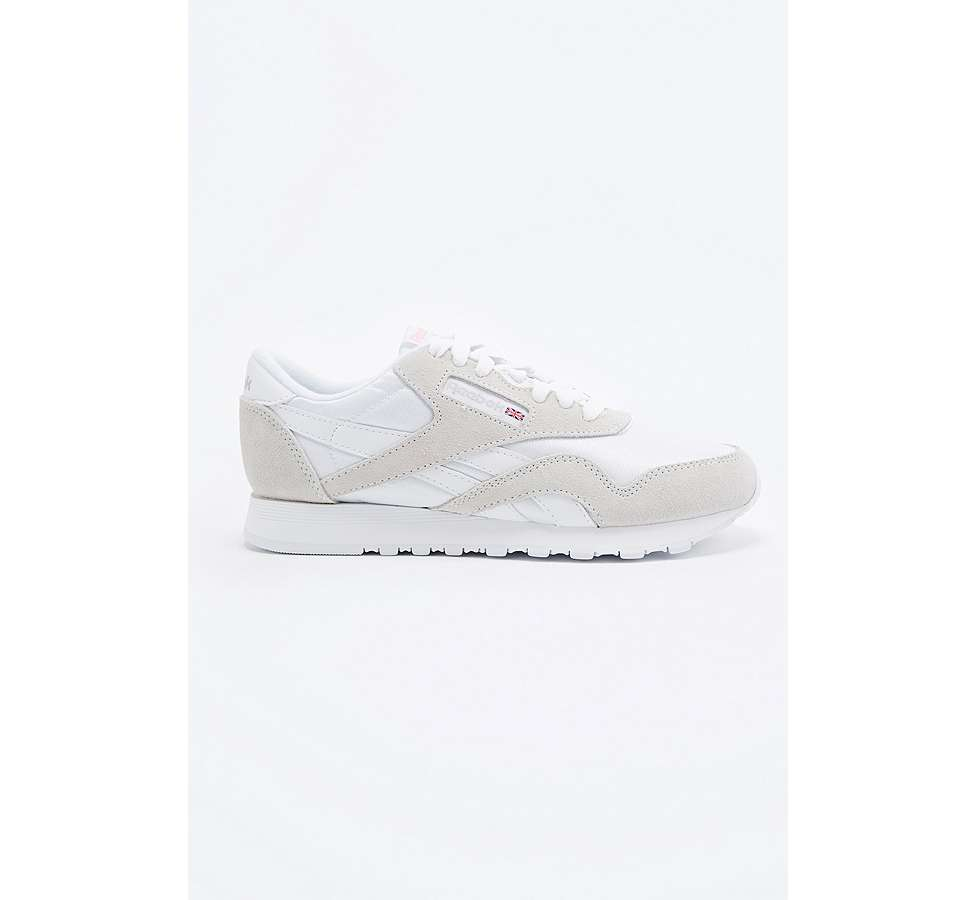 Slide View: 2: Reebok Classic White and Grey Nylon Trainers