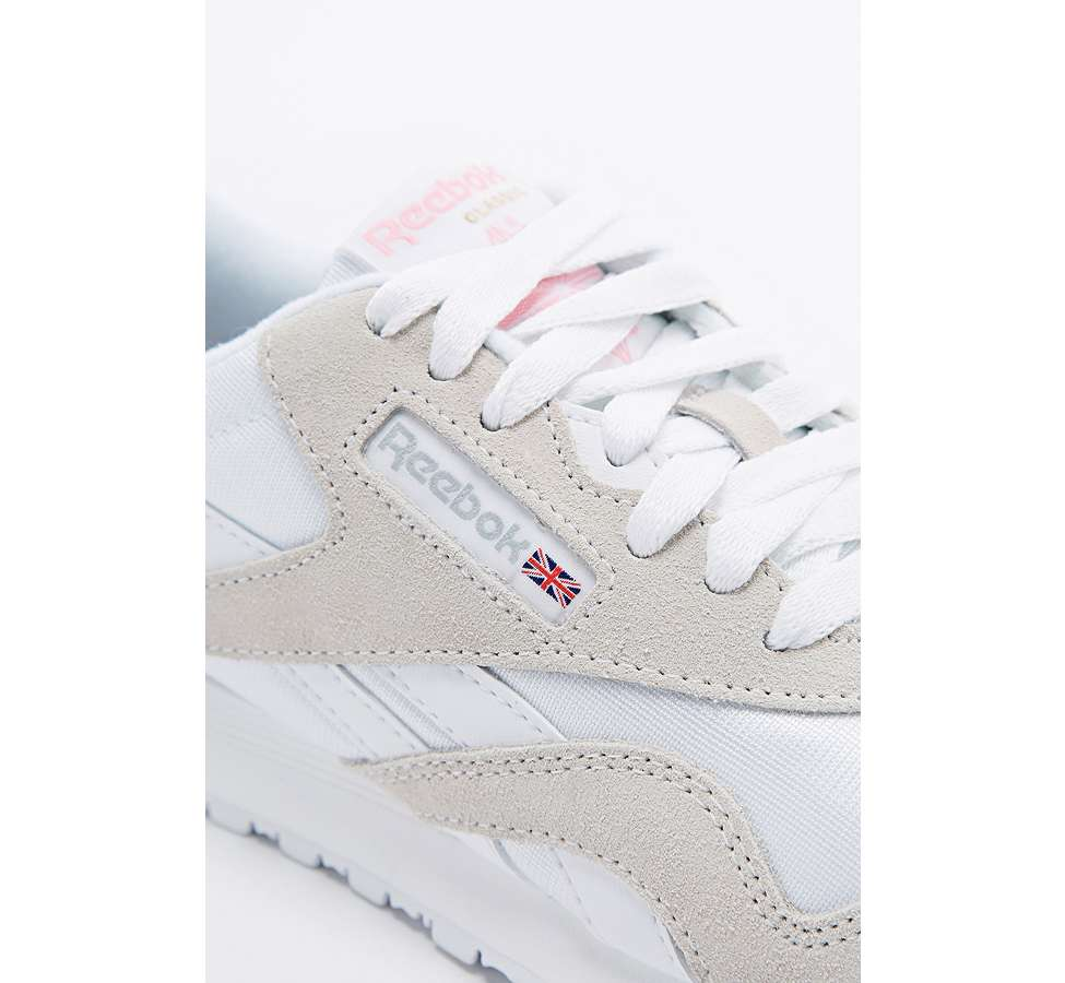 Slide View: 3: Reebok Classic White and Grey Nylon Trainers