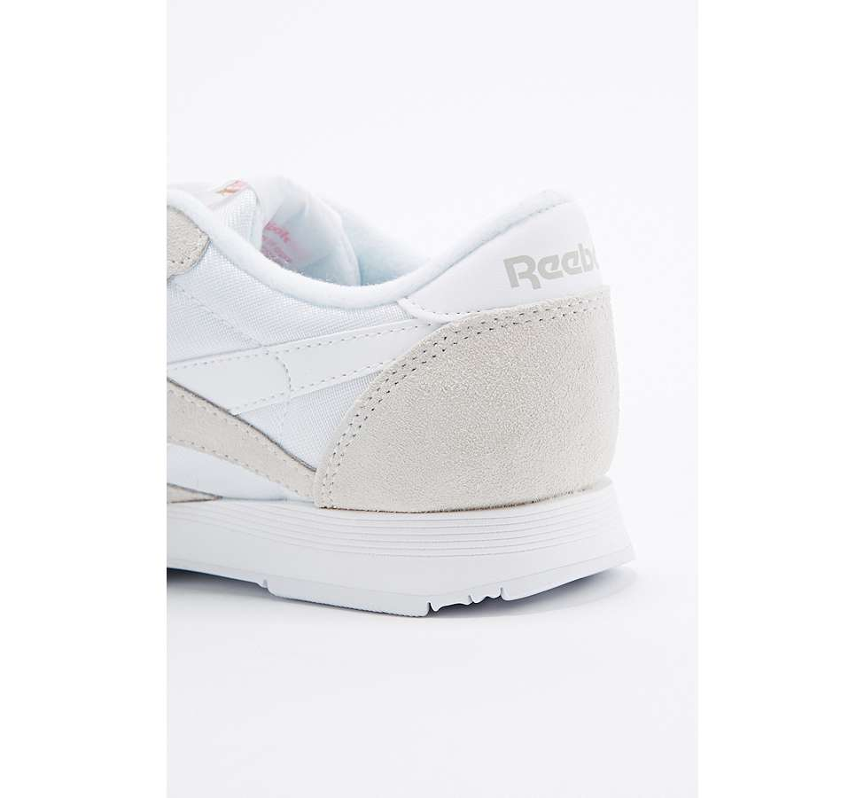 Slide View: 4: Reebok Classic White and Grey Nylon Trainers