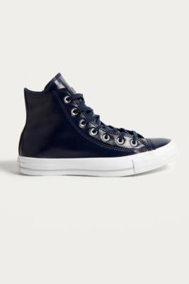 Converse - Converse Chuck Taylor All Star Patent Leather High Top Trainers, Navy