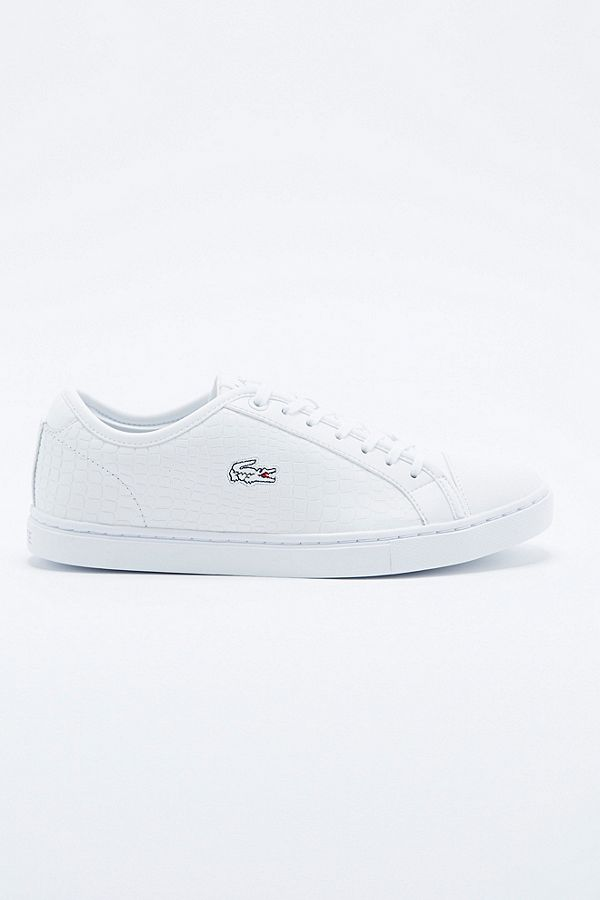 f18d2aec44005 Slide View  2  Lacoste Showcourt Leather Trainers in White