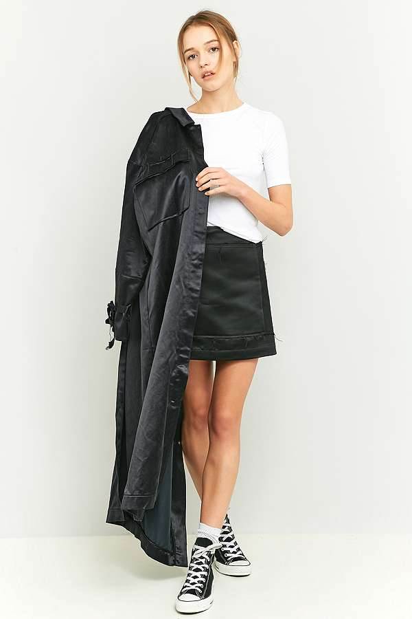 rework by Urban Outfitters Black Satin Cargo Mini Skirt | Urban ...