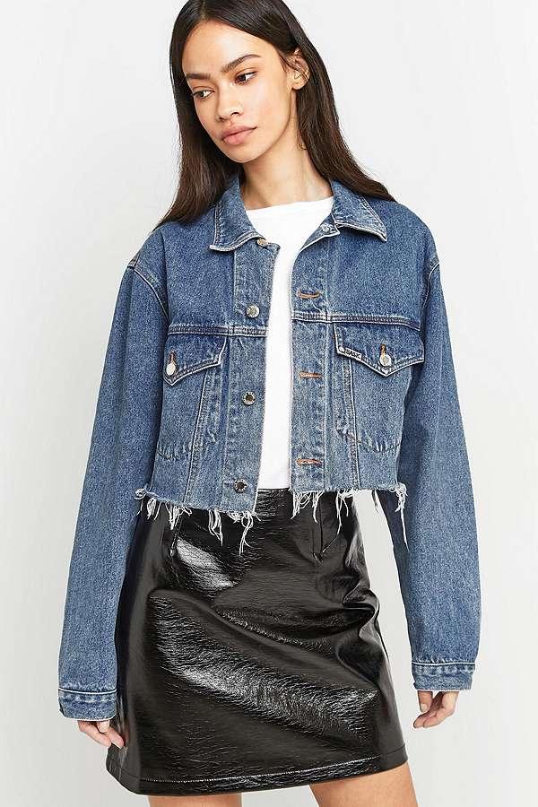 urban renewal vintage customised veste courte en jean urban outfitters. Black Bedroom Furniture Sets. Home Design Ideas
