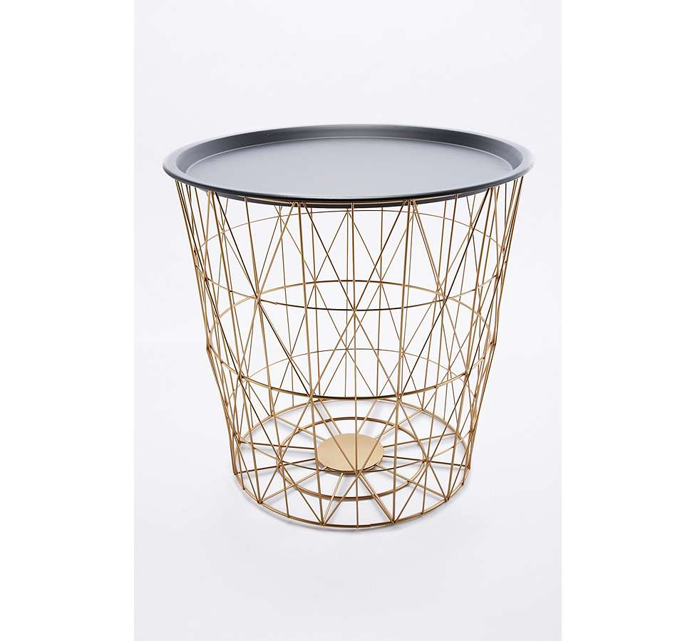 Slide View: 3: Wire Basket Side Table