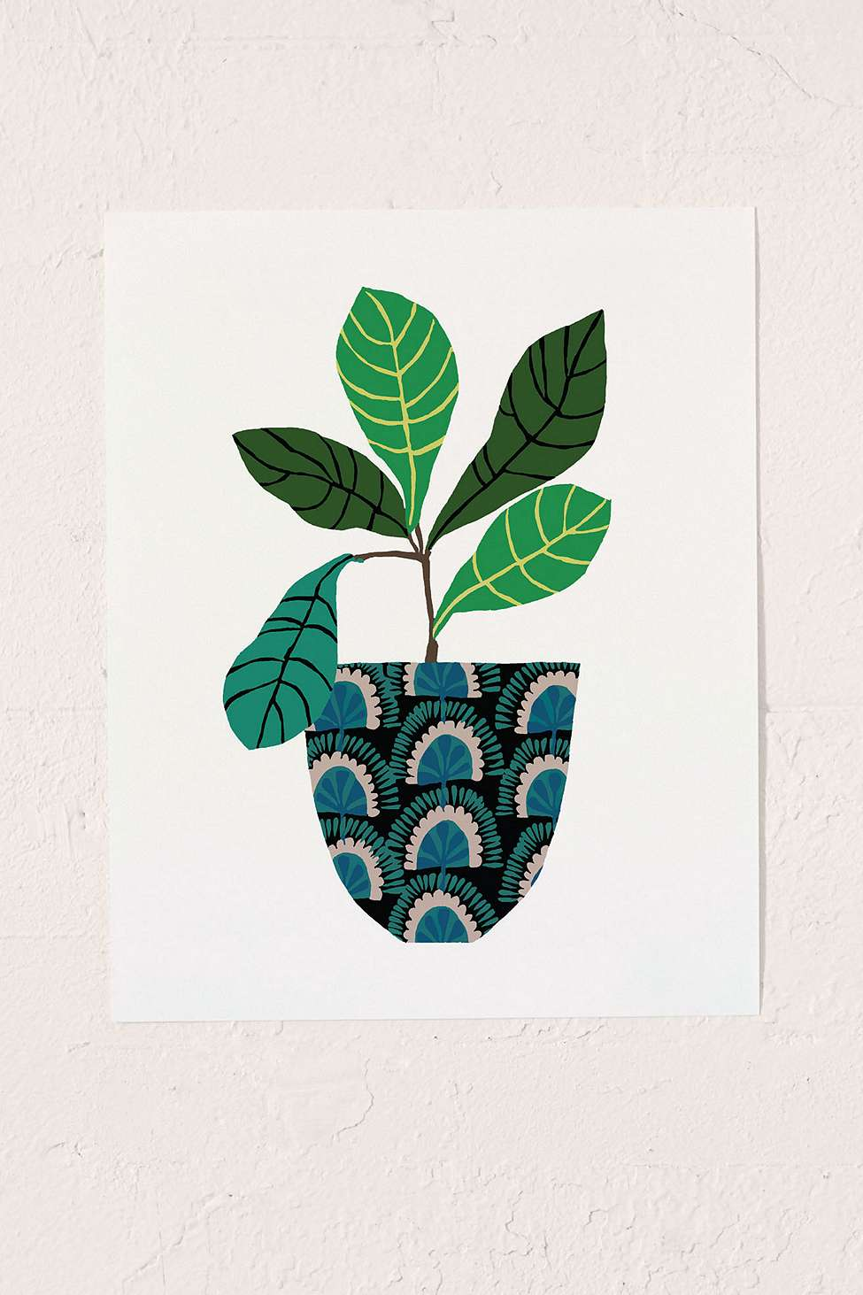 Urban Outfitters Wall Art brie harrison peacock patterned pot wall art print | urban outfitters