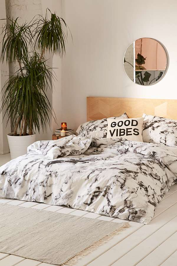 Marble Print Duvet Set Urban Outfitters Uk