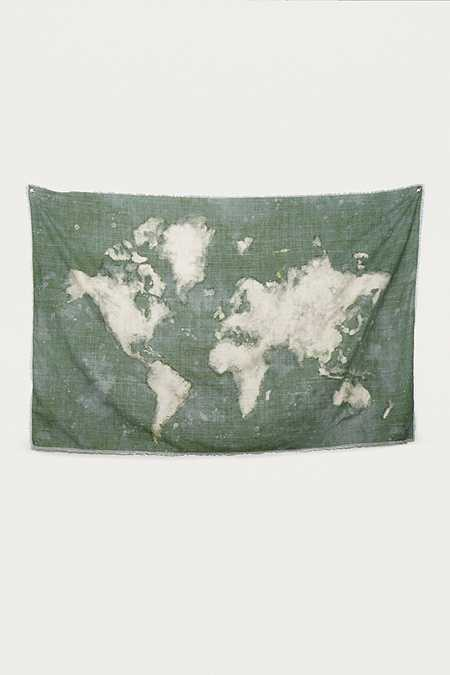 Bleached Map Tapestry