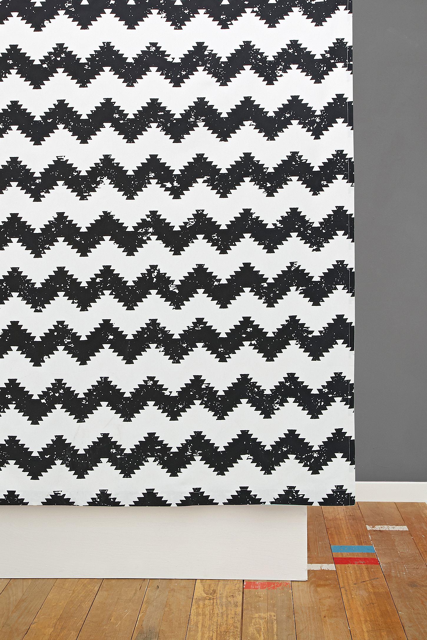 Geo Chevron Print Shower Curtain In Black And White