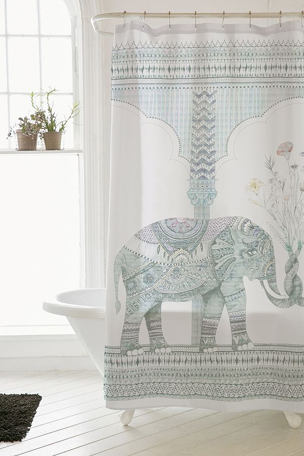 Your Urban Outfitters Gallery Illustrative Elephant Shower Curtain