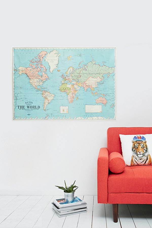 Large world map wrap wall art urban outfitters large world map wrap wall art publicscrutiny Gallery