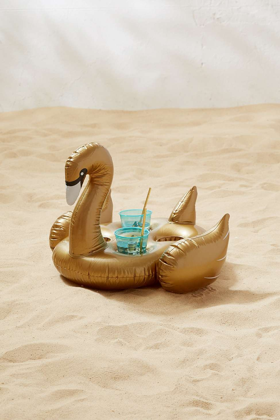 Slide View: 1: Sunnylife Golden Swan Pool Float Drink Holder