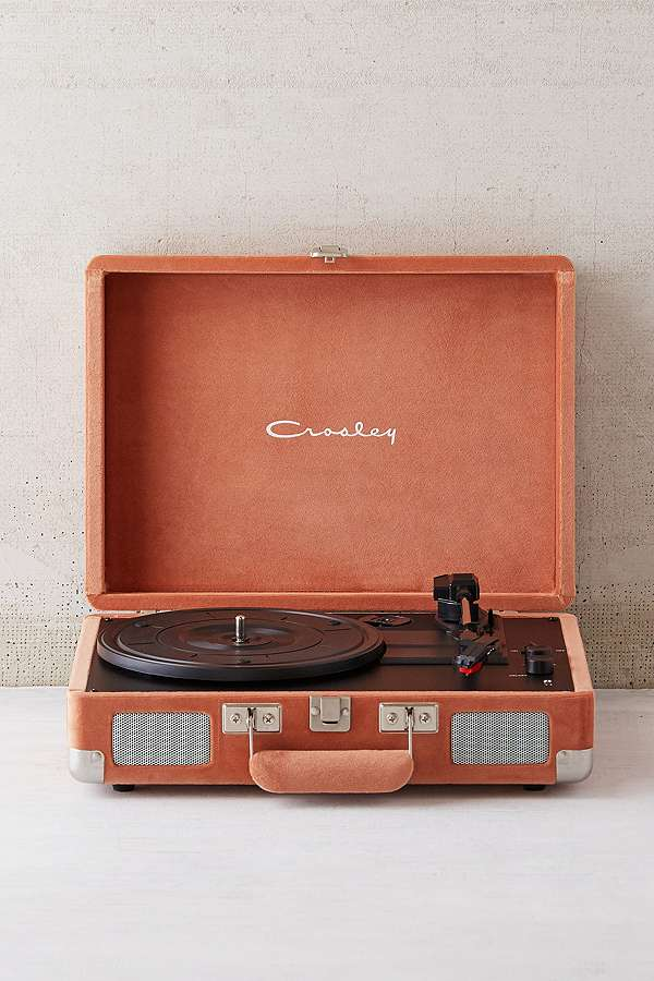 Slide View: 1: Crosley X UO Blush Velvet Cruiser Bluetooth Record Player