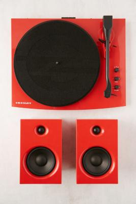 Crosley T100 Red Bluetooth Vinyl Record Player With Speakers by Crosley