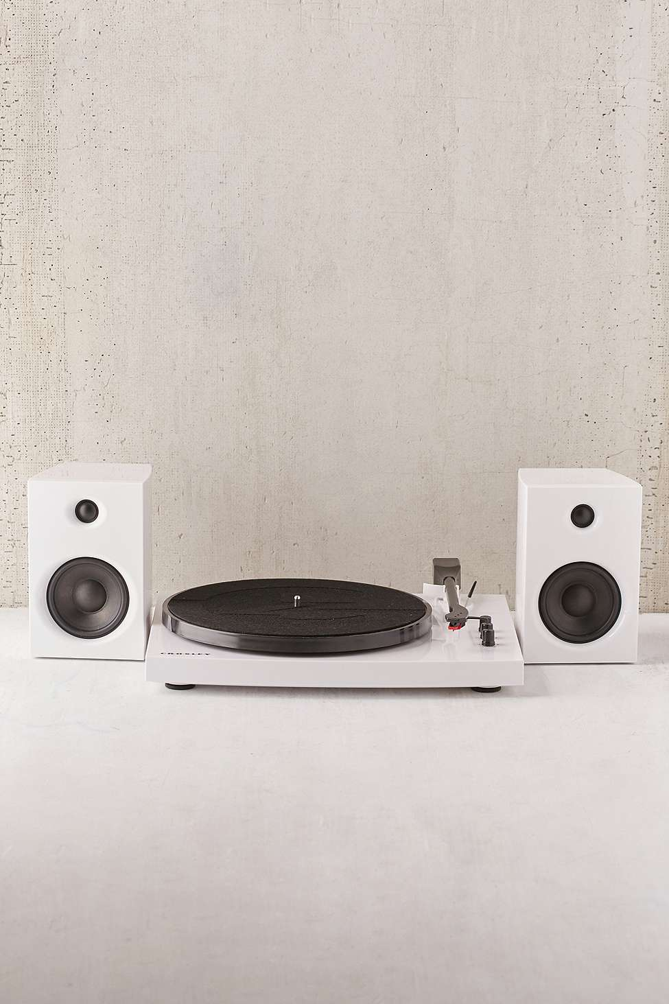 Slide View: 2: Crosley T100 White Vinyl Record Player with Speakers