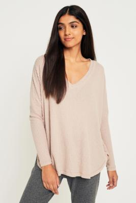 Out From Under - Out From Under Oversized Cosy Thermal V-Neck Top, Cream