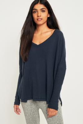 Out From Under - Out From Under Oversized Cosy Thermal V-Neck Top, Navy