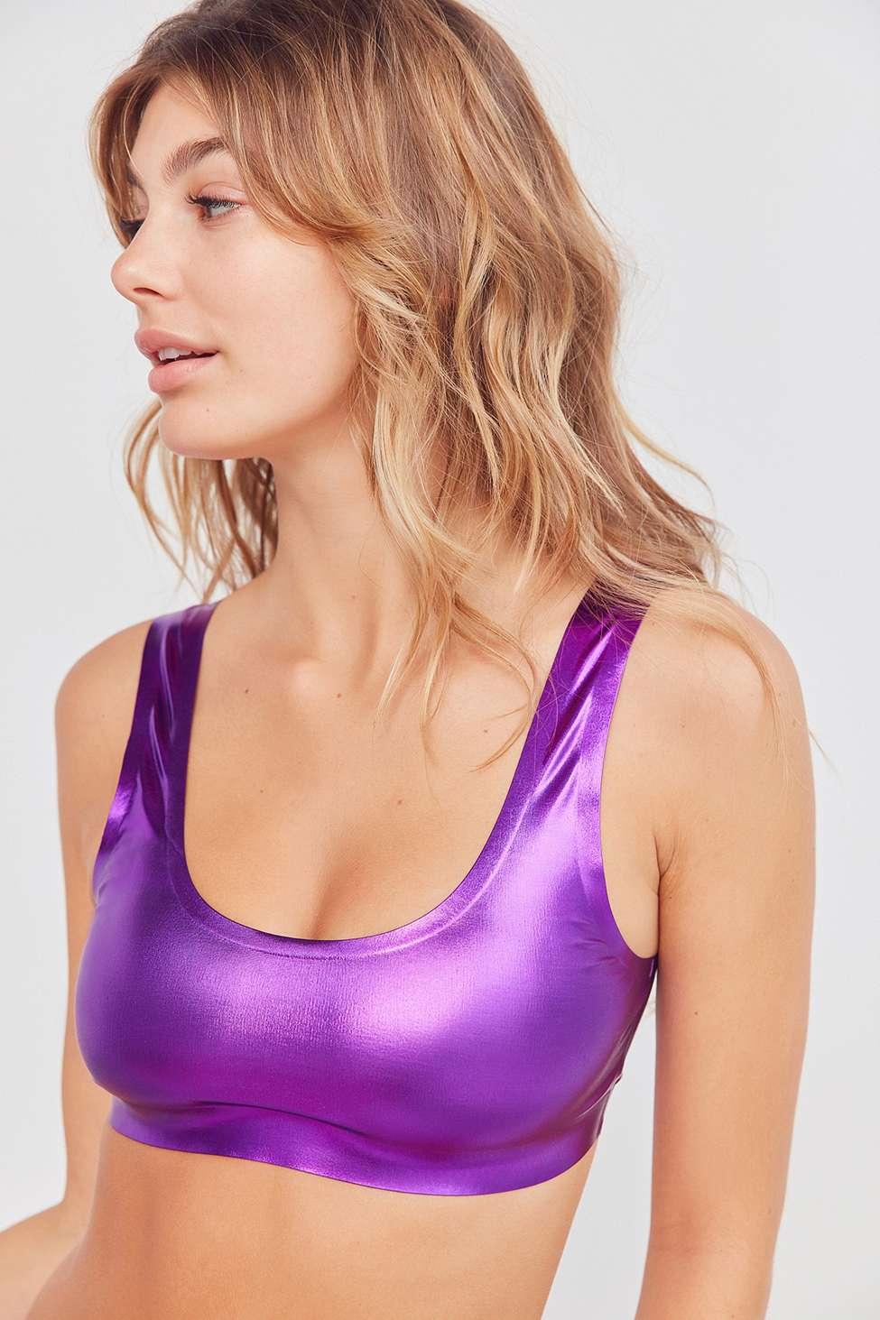 Out From Under Purple Metallic Scoop Neck Bralette, Purple