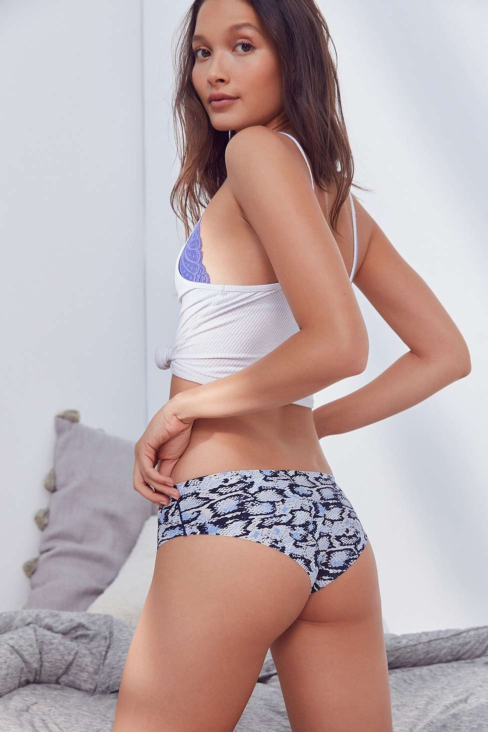 Out From Under Printed No Lines Laser-Cut Hipster Knickers, Slate