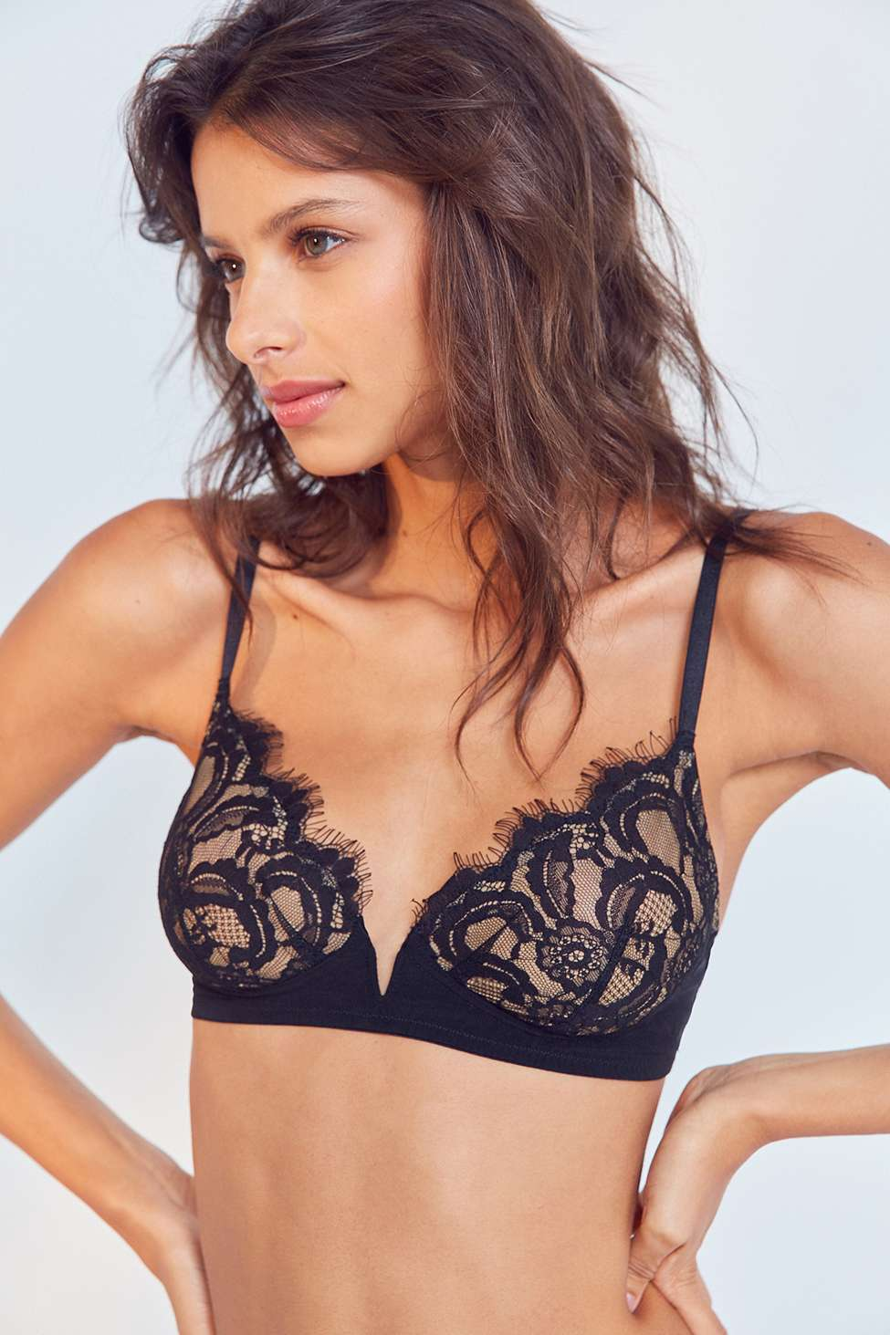 Out From Under Annabelle Lace V-Front Bra, Black