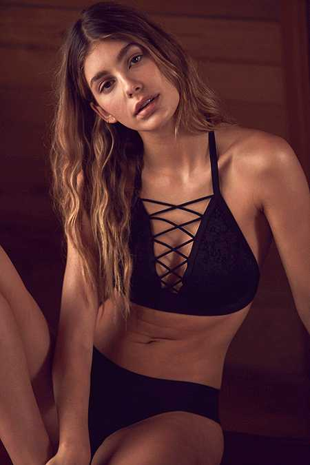 Out From Under Lace Me Up Black Halter Neck Bra