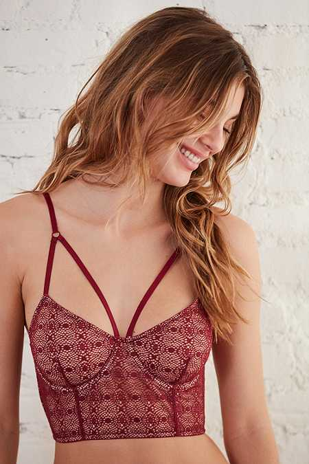 Out From Under Larissa Strappy Maroon Lace Longline Bra