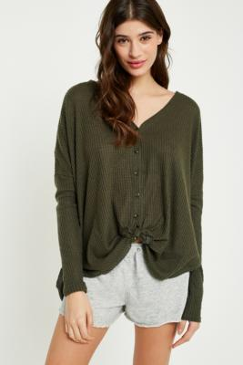 Out From Under - Out From Under Jojo Oversized Thermal Button-Front Top, Khaki