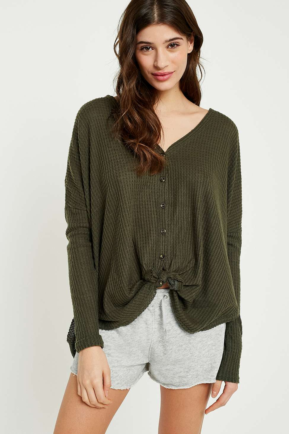 Out From Under Jojo Oversized Thermal Button-Front Top, Khaki