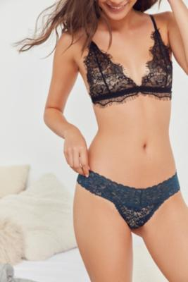 Out From Under - Out From Under Zoe Cotton Lace Thong, Blue