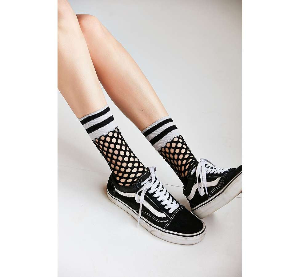 Slide View: 1: Out From Under Sporty Cuff Fishnet Crew Socks