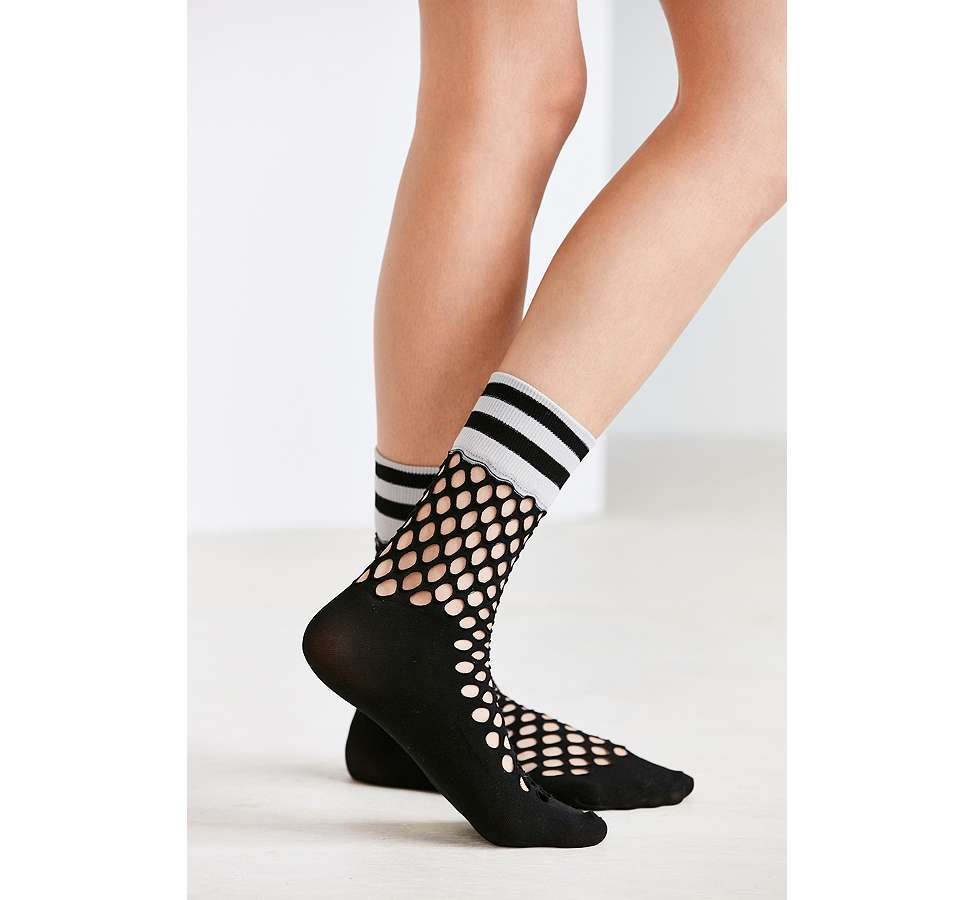 Slide View: 5: Out From Under Sporty Cuff Fishnet Crew Socks