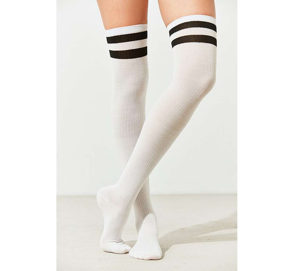Slide View: 1: Out From Under Varsity Striped Thigh High Socks