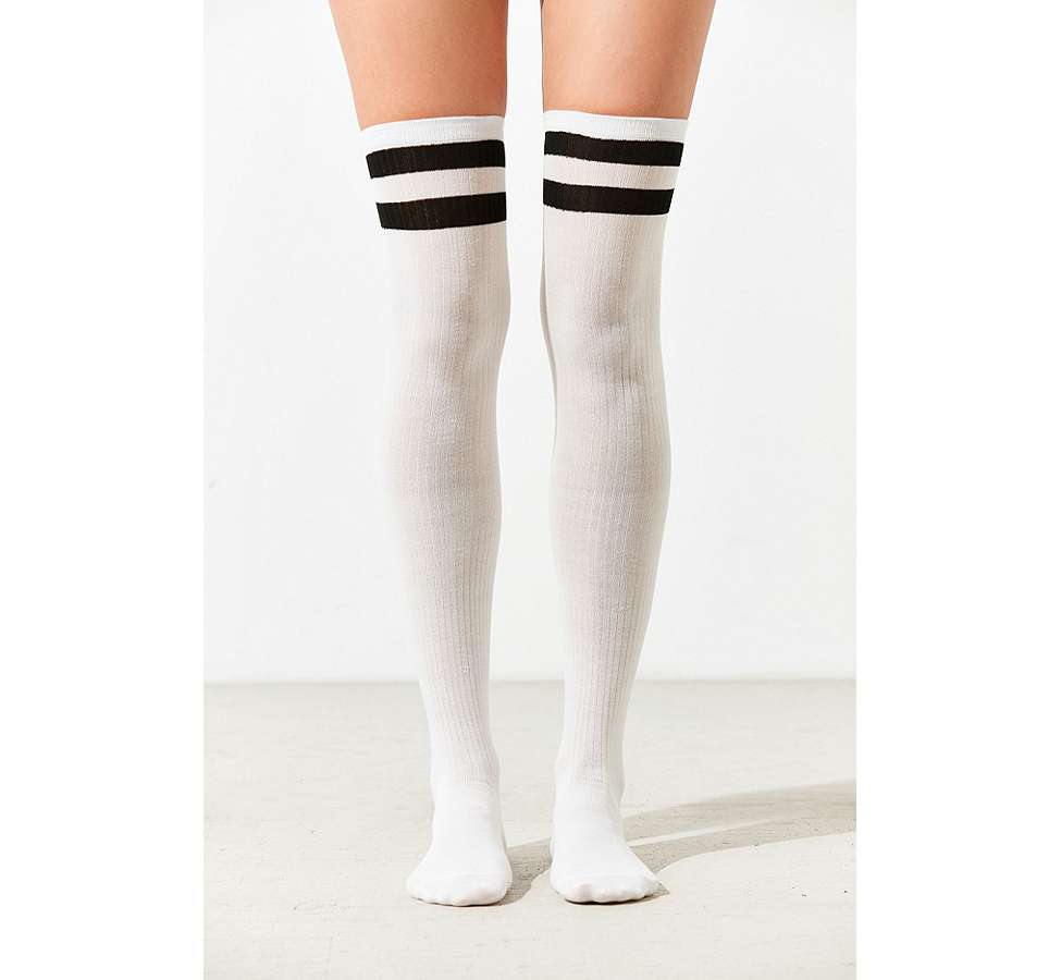 Slide View: 2: Out From Under Varsity Striped Thigh High Socks