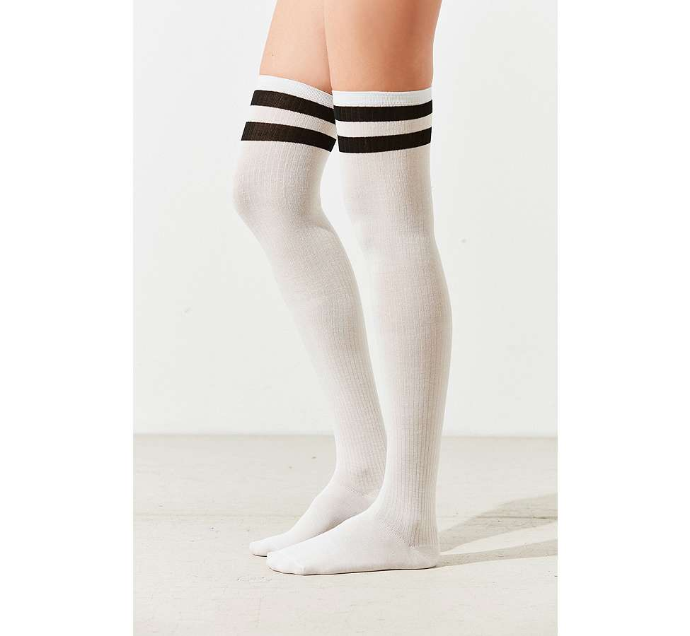 Slide View: 3: Out From Under Varsity Striped Thigh High Socks