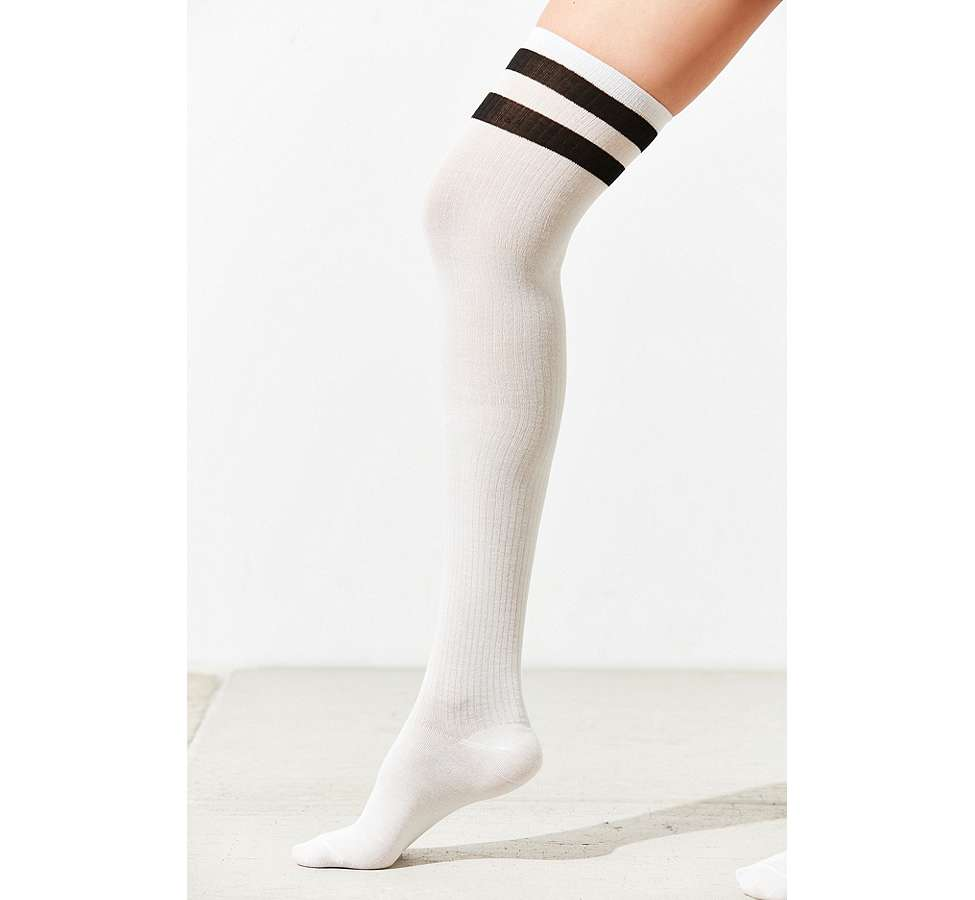 Slide View: 4: Out From Under Varsity Striped Thigh High Socks